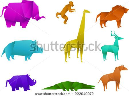 stock-vector-icon-set-of-coloured-origami-animals-origami-panther-origami-tiger-origami-cougar-origami-222040972.jpg (450×339)