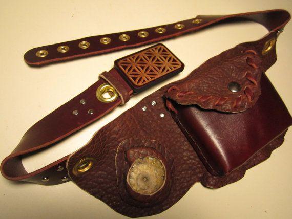Hand Made Leather UTILITY BELT,FREE Shipping, w/Ammonite, Sacred geometric Seed of life wood Buckle, Buffalo, Latigo, Brass