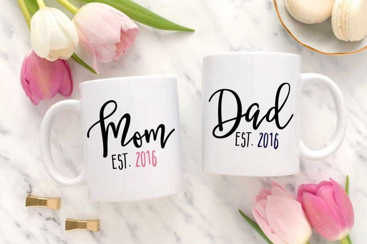 New Parent Gift, New Parents Gift, Mom and dad mugs, Custom mom and dad cups, Custom mom and dad mugs, matching mom and dad mugs.