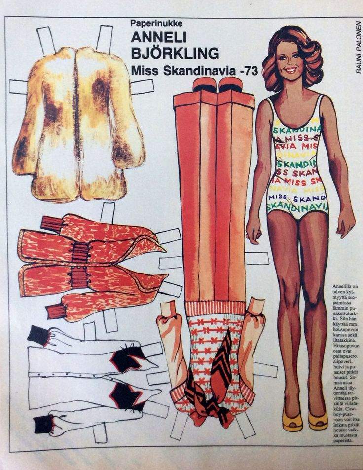 Finnish Paper Doll Tuula Anneli Björkling (born 1952) of Finland was adjudged Miss International 1973 on 13 October, held at the Exposition Hall Fairgrounds in Osaka, Japan.[1] She is the first Finn to win the title. Tuula joined the Miss World 1972 pageant in London, United Kingdom, wherein she placed sixth. She is also the winner of the Miss Scandinavia 1973 contest, held in Helsinki, Finland.