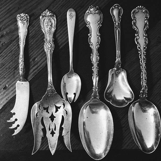 gorgeous pieces of sterling silver flatware fish fork sugar spoon serving spoon - Sterling Silver Flatware