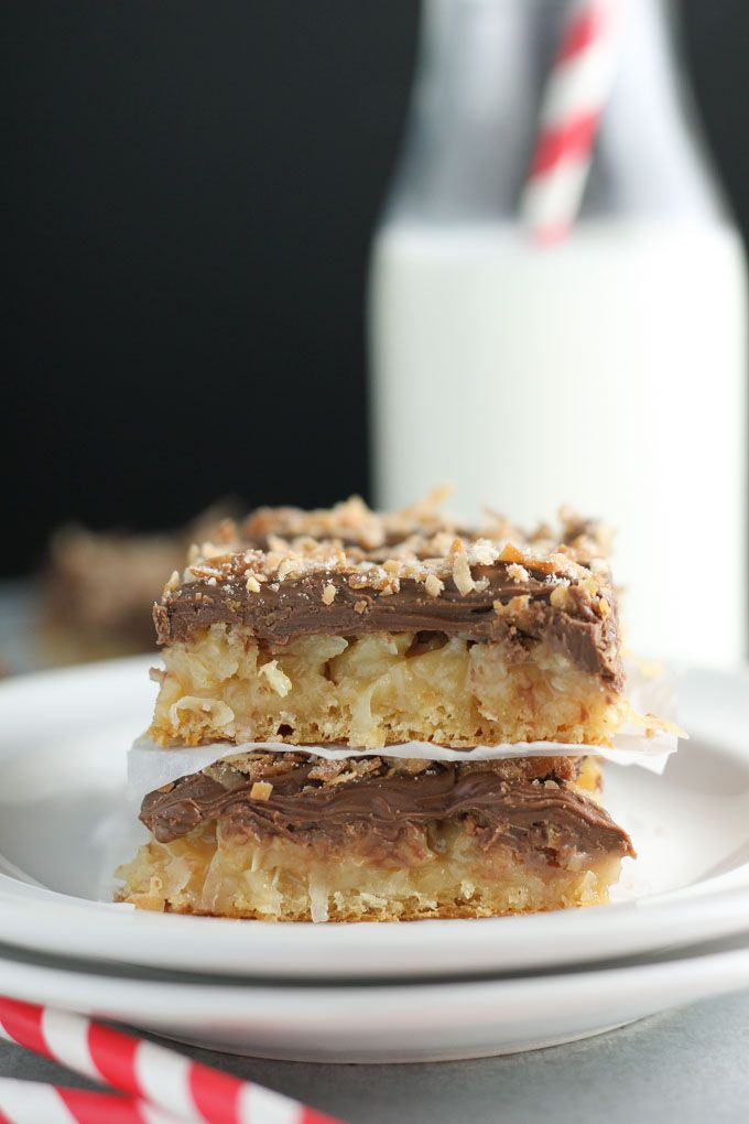 Crescent dough makes for an easy and tasty crust topped with sweet coconut and finally a layer almond milk chocolate! bakedinaz.com