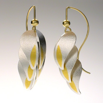 Heliconia   Artist: Jayne Redman	  Earrings in sterling silver with 24k yellow gold keum-boo