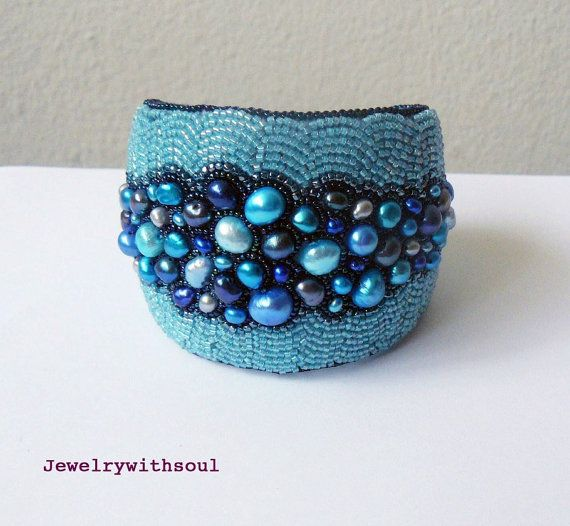 Bead embroidery cuff bracelet with freshwater pearls and seed beads in turquoise, teal, sky and navy blues - Circles in the water