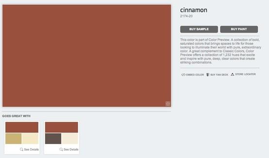 benjamin moore cinnamon 2174