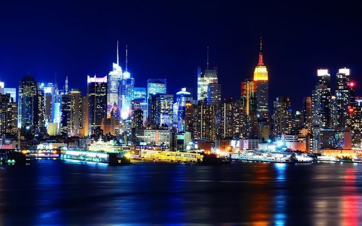 Download wallpapers New York, 4k, cityscapes, nightscapes, pier, metropolis, NYC, USA, America