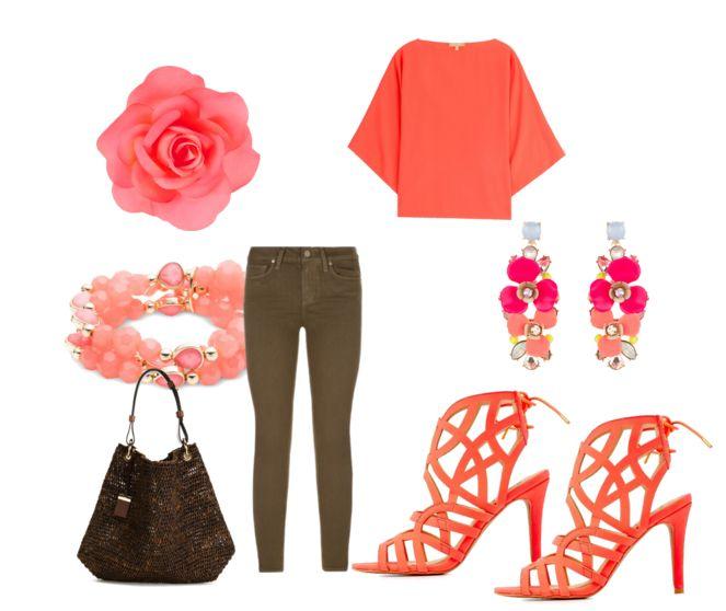 Коричневые джинсы, блузка кораллового цвета, босоножки, коричневая сумочка, серьги, браслет, заколка для волос
