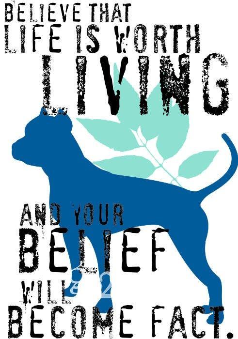 PitBull Dog Art Print Inspirational Dog Print by GoingPlaces2, $13.00