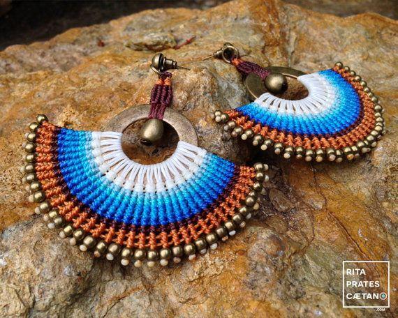 Big Statement Macrame Earrings . white blue by RitaPratesCaetano