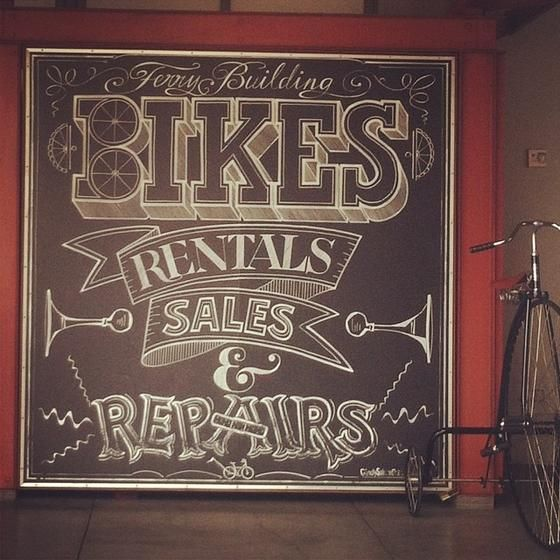 Inside WedSpring - Bike shop chalkboard sign