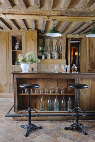1850's French home bar with modern Victorian a.k.a steampunk style stools.