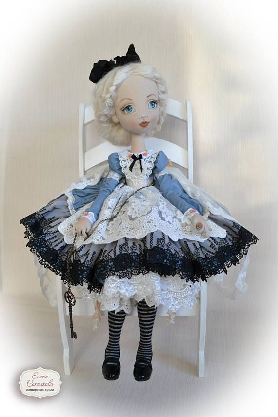 Alice in Wonderland.  Interior doll.  Gift Idea. Large textile