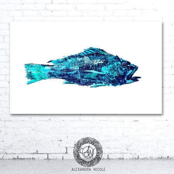 Fish Painting, Gyotaku Reproduction, Fish Print, Sea Bass, Fish Decor, Sea Life Art, Coastal Art, Nautical Art, Etsy Finds, Wall Decor