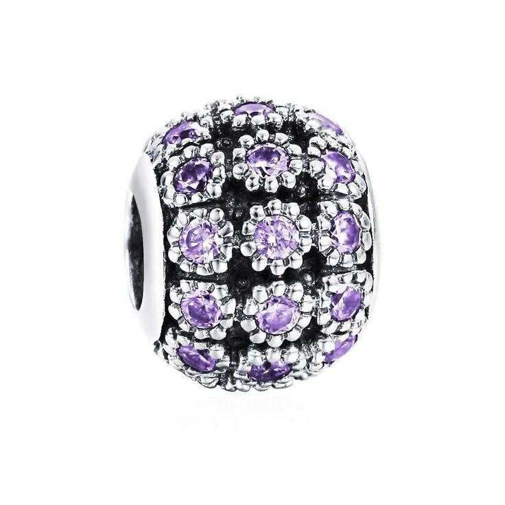 June Birthstone Light Purple Flower Charm 925 Sterling Silver