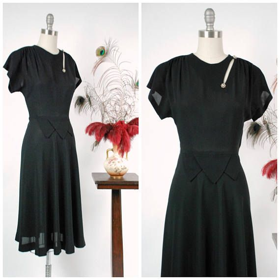 Vintage 1940s Dress  Alurring Black Rayon 40s Cocktail Dress