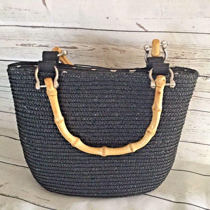Wheat Straw Purse Black With Bamboo Look Handles Natural Fiber Small vegan #Unbranded #Purse