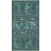 New office rug- Palazzo Black / Turquoise Velvety Rug