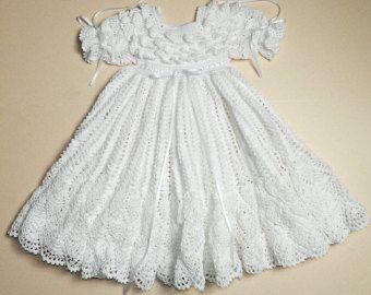 Wit doop / zegen jurk met Slip Baby kleding door CherryHillCrochet