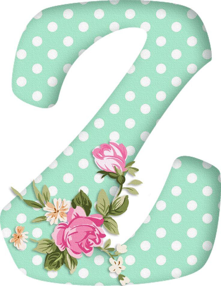PAPIROLAS COLORIDAS: Abecedario con flores. Letras mayúsculas verdes, puntos blancos. Letra Z.