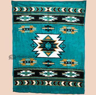 Plush Southwestern Chevron Blanket - 74x96 Turquoise (35)