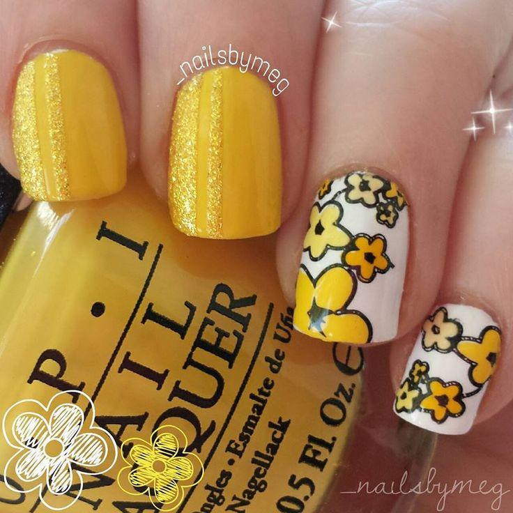 Uñas amarillas y plantillas flores Moyou London