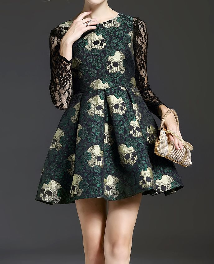 — monsterthigh:   Skull Printing Lace-Paneled Dress