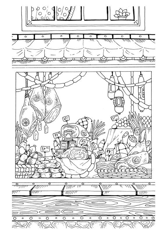 Nice Little Town (Adult Coloring Book, PDF, Digital Pages, For ...