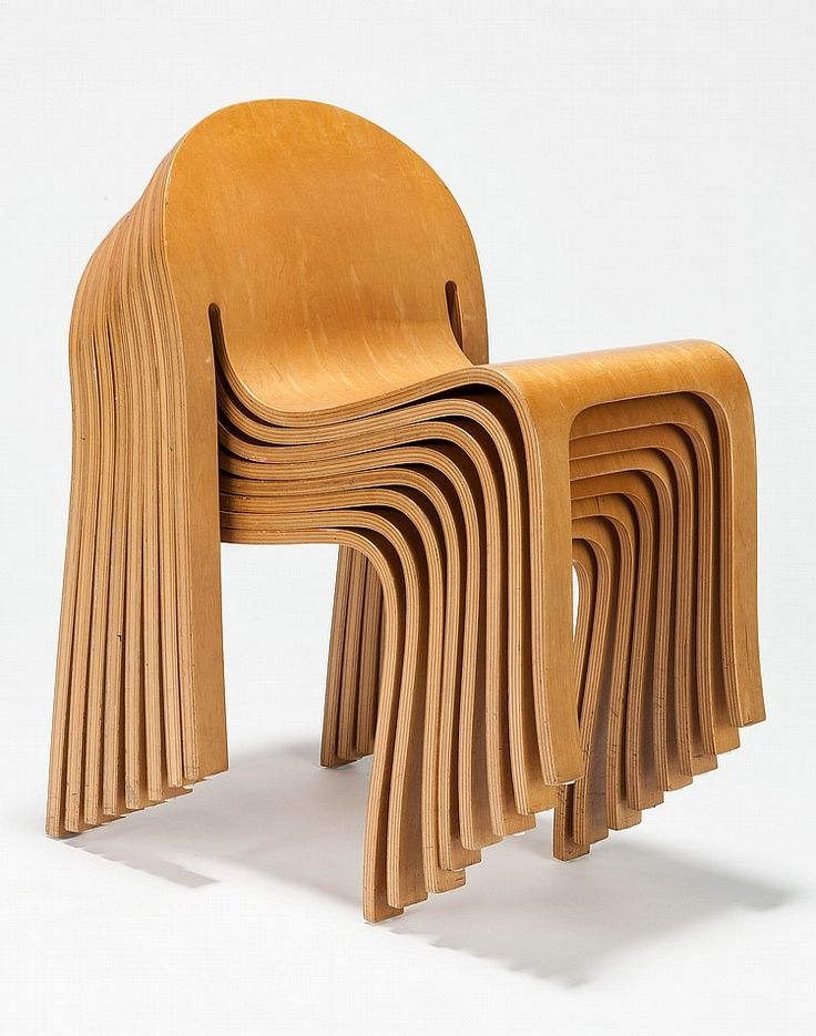 Peter Danko; Molded Ash Plywood Stacking Chairs, c1982.