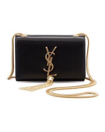Saint Laurent Cassandre Small Tassel Crossbody Bag, Black - Neiman Marcus