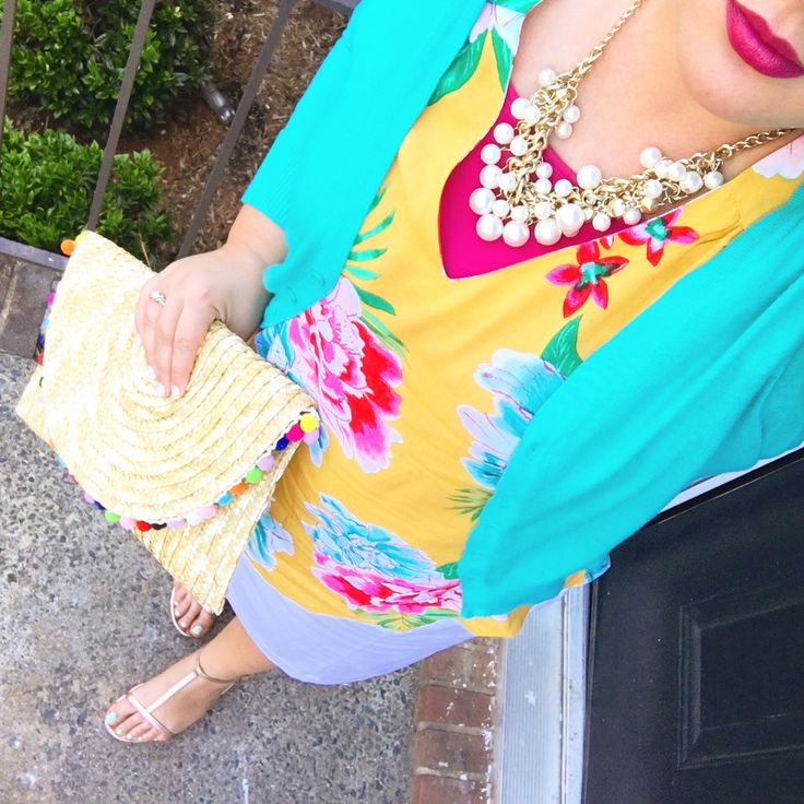 JCPenny white Pencil Skirt mustard tropical floral relaxed top pearls pink lips turquoise cardigan Pom Pom clutch gold metallic sandals modest spring summer outfit look style blogger mix and match Mel