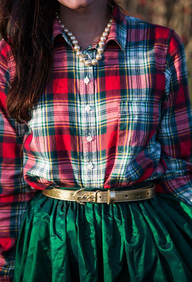 Christmas plaid shirt and emerald green party skirt