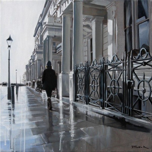 Andy Beck - Brighton Artist  Palmeira Square - Acrylic on canvas
