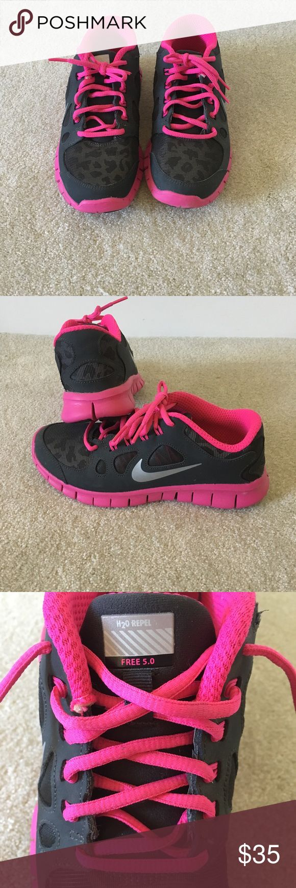 Girls Nike Free 5.0 with H2O Repel Girls Nike Free 5.0 running shoe with H2O Repel.  Reflective, leopard patterned charcoal grey with pink & black accents.  Worn just a couple of times, great condition.  Size is 7 Youth. Nike Shoes Sneakers