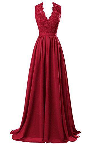 R&J Women's V-neck Open Back Lace Chiffon Floor Length Formal Evening Party Dress Burgundy Size 2 RJ http://www.amazon.com/dp/B014CXC6IO/ref=cm_sw_r_pi_dp_dGnZwb0W3578W