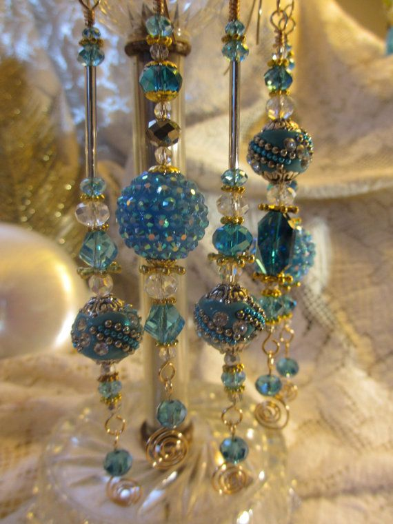 Baby Blue Crystal Christmas Bead Ornaments by LaReineDesCharmes