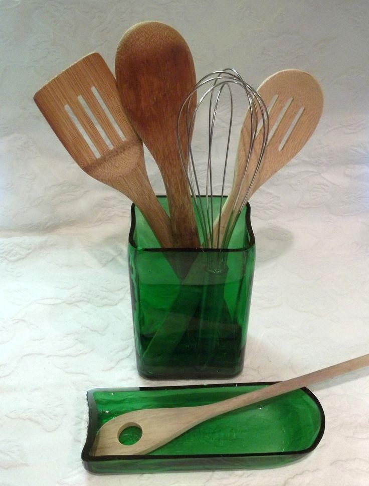 Jagermeister Bottle Kitchen Set by GroovyGreenGlass on Etsy, $35.00
