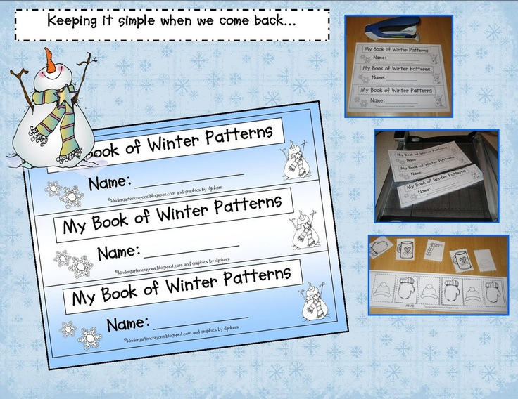 Here's a booklet for students to create a series of winter-themed pattern strips.