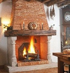 spanish style fireplaces | stone trumeau in a French country chateau (below right).
