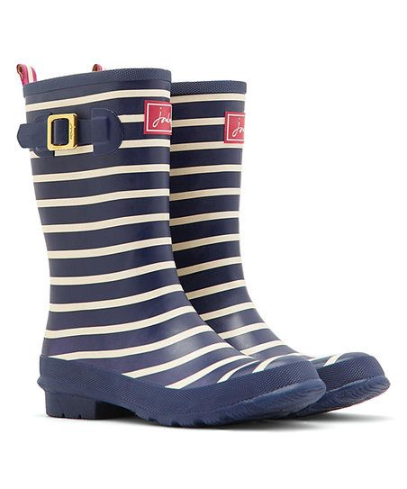 Joules Navy & White Stripe Molly Welly Rain Boot - Women | zulily