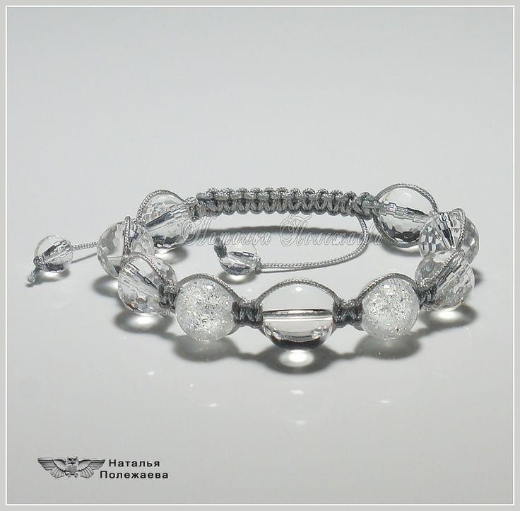 Браслет ХРУСТАЛЬНАЯ ЗИМА (ШАМБАЛА, v.441)   Стильный браслет из кварца и горного хрусталя: зимний, прозрачный, сверкающий, как лед и снег воплощенные в камне...