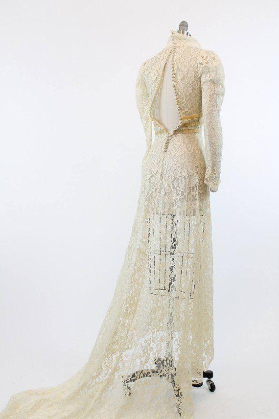 5200ded7367 30s Wedding Dress XXS   1930 Vintage Lace and Velvet Bridal