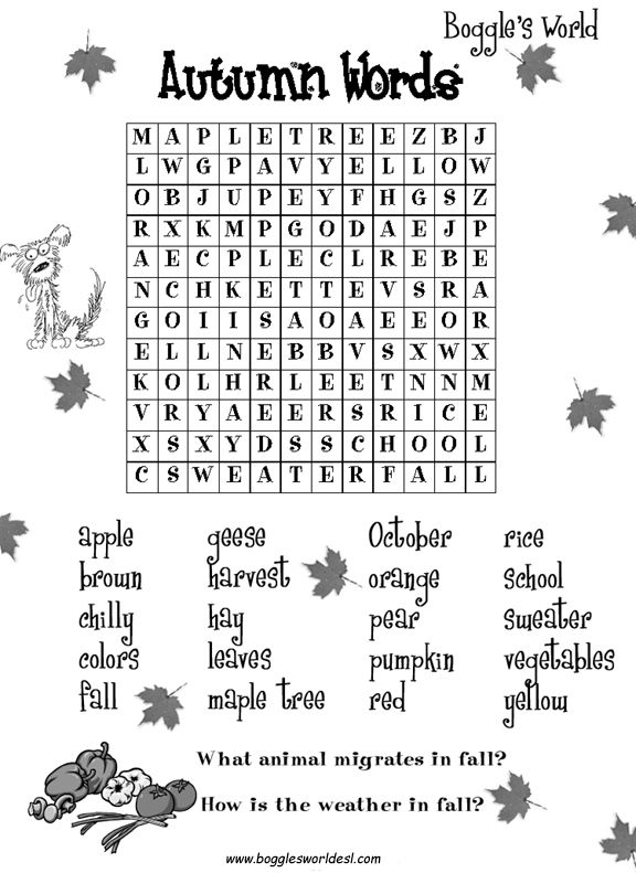 E D A D E Cd A Fall Word Search Fall Words also  on autumn wordsearcher
