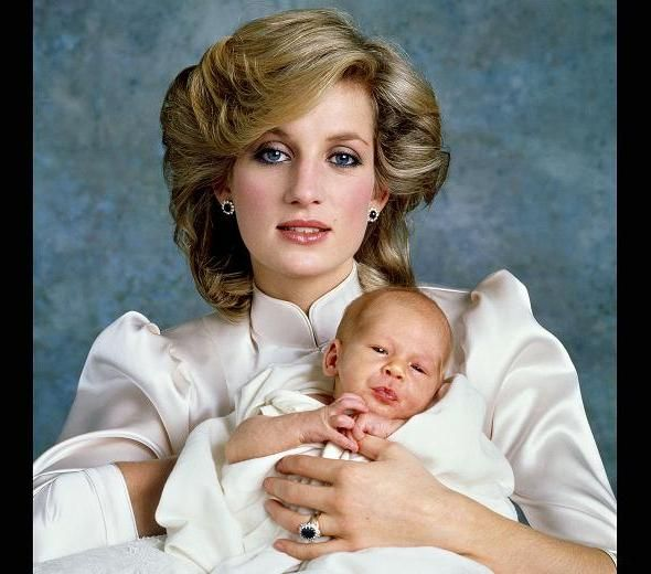 Princess Diana And Prince Harry As A Baby, 1984.