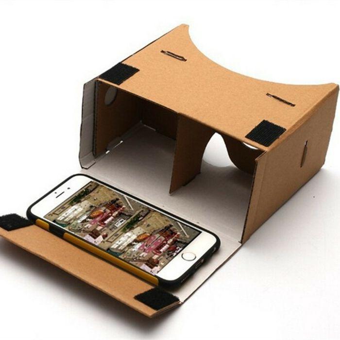 das ist eine idee für vr brille aus pappe und ein kleines weißes smartphone   vr brille selber bauen