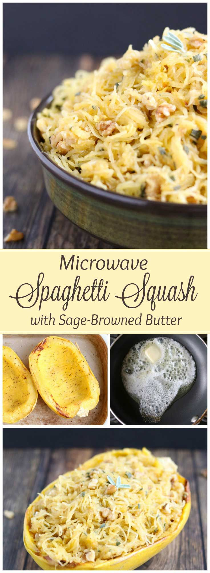 So much faster than oven-roasting spaghetti squash! Easy enough for weeknights, but impressive enough for Thanksgiving dinner and Christmas! Rich browned butter with crunchy, toasted walnuts and fragrant sage - amazing! With just 5 ingredients, this easy spaghetti squash recipe is so simple! Lots of easy tips, too – toasting nuts, browning butter, cooking spaghetti squash perfectly, and stuffed spaghetti squash! | www.TwoHealthyKitchens.com