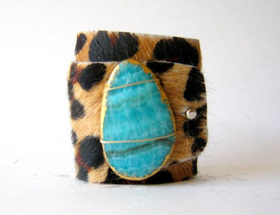 cheetah hair on hide cuff bracelet with by FineAndFunkyJewelry, $50.00