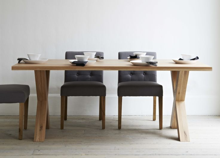 A solid heavy oak modern dining table with clean lines and crossed leg design elegant pale oak - Crossed leg dining table ...