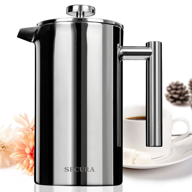 FRENCH PRESS COFFEE MAKER - Stainless Steel - Double-Wall Construction 1000 ml