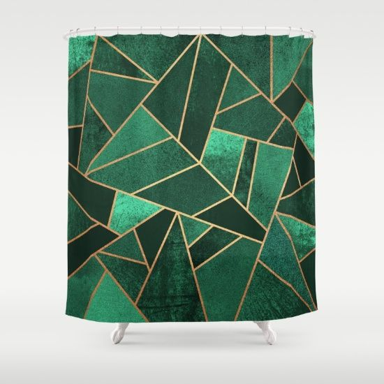 Buy Shower Curtains featuring Emerald and Copper by Elisabeth Fredriksson. Made from 100% easy care polyester our designer shower curtains are printed in the USA and feature a 12 button-hole top for simple hanging.
