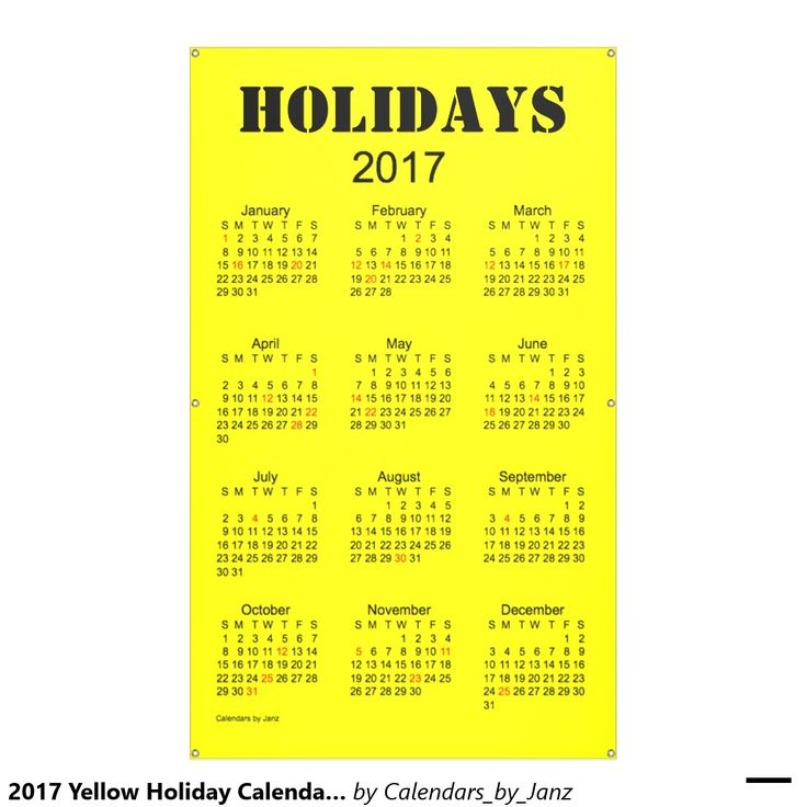 2017 yellow holiday calendar by janz banner more customizable 2017 ...